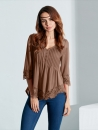 Pleated Lace Patchwork Three Quarter Sleeve Blouse