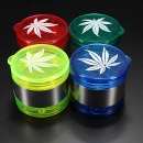 Leaf Pattern Plastic Herbal Herb Grinder Tobacco Smoke Crusher 5 Schicht