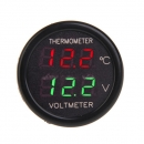 2 in 1 Auto Anzeigen Doppel LED Digital Thermometer Voltmeter 12V